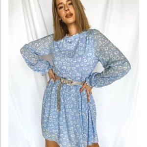 NWT Baby blue floral long sleeve dress